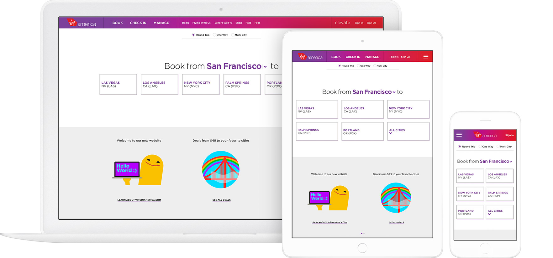 Virgin America website, responsive design